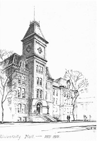 pen and ink drawing of University Hall
